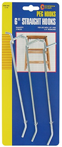 Convenience Concepts SC-76 Straight Single Pegboard Hooks