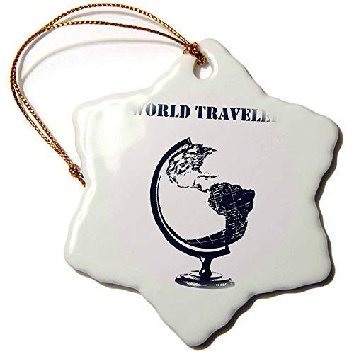 weewen PS Creations World Traveler Globe Atlas map Snowflake Porcelain Ornament Christmas Decoration Ornament Housewarming Gift for Man Women