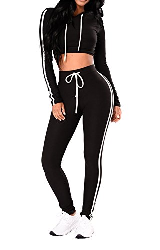 LADYA Women Black White Striped Slim Hooded Cropped Long Sleeve Top High Waist Sport Pants Set Tracksuit (Pants Cropped & Striped Top)