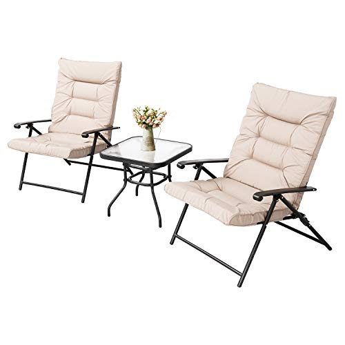 (LAHAINA 3-Piece Patio Padded Folding Chair Set Outdoor Adjustable Reclining Furniture Metal Sling Chair w/Coffee Table, Beige)