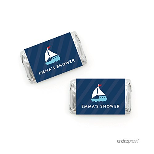 Andaz Press Nautical Baby Shower Collection, Personalized Chocolate Minis Labels, Fits Hershey