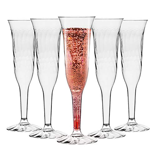 Plastic Champagne Flutes - 96 Pcs Disposable Fancy Crystal Cut Clear Champagne Glasses - 5.5oz Unbreakable Elegant Party Drinking Cocktail Wine Glass for Wedding, Mardi Gras, Birthday & All Occasions