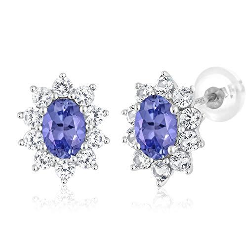 Gem Stone King 10K White Gold Blue Tanzanite Women's Oval Halo Stud Earrings Gemstone Birthstone 1.70 Ct (Tanzanite Rings White Gold)