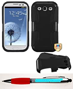 Accessory Factory(TM) Bundle (Phone Case, 2in1 Stylus Point Pen) SAMSUNG Galaxy S III (i747 L710 T999 i535 R530 i9300) Natural Black Frosted Fusion Protector Cover
