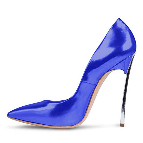 Damen Große Größe Pumps Spitze Zehen High-Heels Stiletto Rutsch Hochzeit Party Lack-Blau