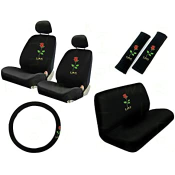 11 pieces auto seat covers gift set 2 low back front bucket seat covers with. Black Bedroom Furniture Sets. Home Design Ideas
