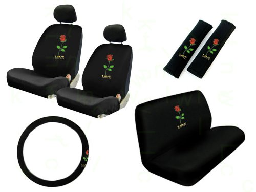 11 Pieces Auto Seat Covers Gift Set: 2 Low Back Front Bucket Seat Covers with Separate Headrest Cover, 1 Steering Wheel Cover, 2 Shoulder Harness Pressure Relief Cover, and 1 Bench Cover - Love Rose Red