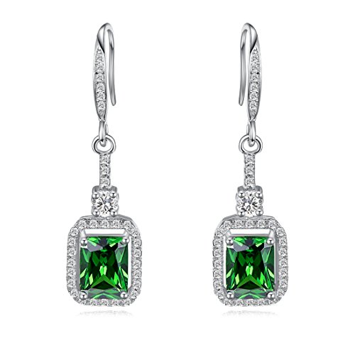 Merthus Womens 925 Sterling Silver Created Emerald Dangle (Baby Faux Earrings)