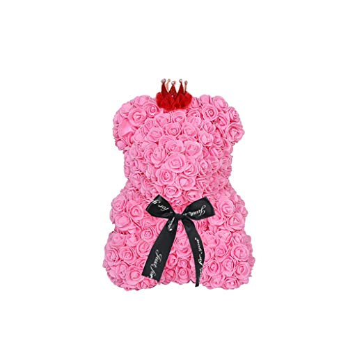 Miklan for Wedding Birthday Valentine, 9 Inch Red Rose Bear Flower Teddy Decoration Creative Gifts (Pink)
