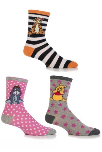 SockShop Girls' 3 Pair Winnie the Pooh & Friends Socks 10-13 (Pooh Socks)