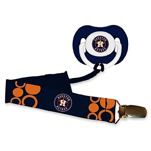 Houston Astros Pacifier with Clip (Houston Astros Baby Set)