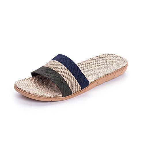 L'enfant Unisex Linen Striped Slippers Summer Skidproof House Indoor Sandals Black