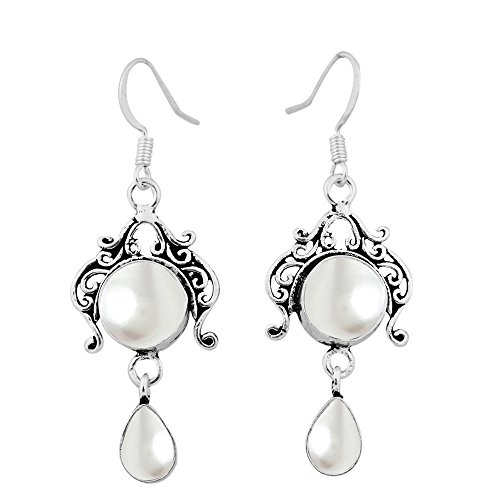 Sterling Silver Overlay (Genuine Pearl 925 Sterling Silver Overlay Handmade Fashion Earrings Jewelry)