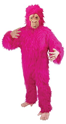 Loftus Adult Halloween Fuzzy Gorilla Adult Costume, Pink, One Size