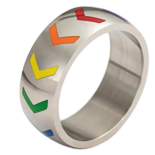 Stainless Steel Rainbow Ring for Men and Women - 8