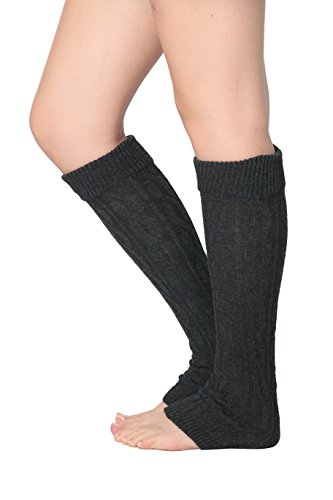 Isadora Paccini Women's Cable Knit Leg Warmers, One Size, LW14, Charcoal