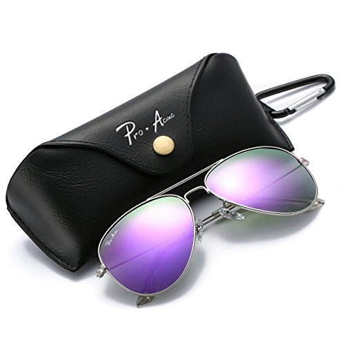 Pro Acme PA3026 Large Metal Polarized Aviator Sunglasses with Eyeglasses Case (Purple Mirrored - Lenses Polarized Eyeglass