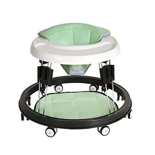Baby Walker - Con Ruedas Multifunción Niño Anti-Rollover Bebé One-Touch Plegable Baby Walker Aprende A Manejar 3Rd Gear Ajustable,Green