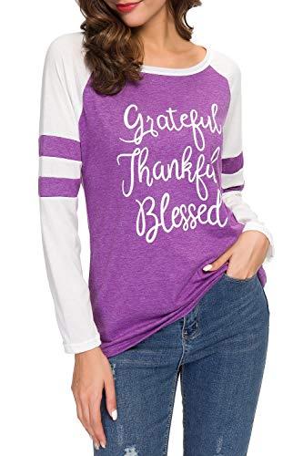 Women's Long Sleeve Color Block Raglan Baseball T Shirt Tops Tees with Thankful Grateful Blessed Saying, 3# Purple, Tag XL = US Medium (8)