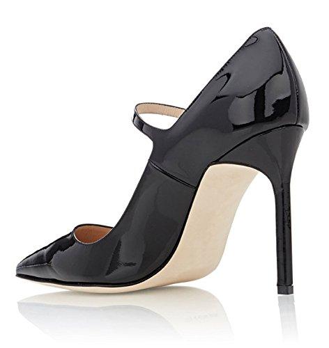 Mujer Negro Altos Tacones Mary 10 CM tacón Wedding ELASHE de Jane Boda Clásicas Zapatos Cerrado CcpOZqw6