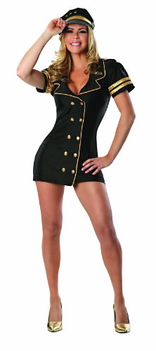 Attendant Costumes Flight Accessories (Delicious Friendly Skies Costume, Black/Gold,)
