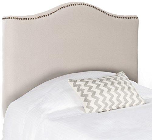 Safavieh Jeneve Taupe Linen Upholstered Headboard - Brass Nailhead (Twin)