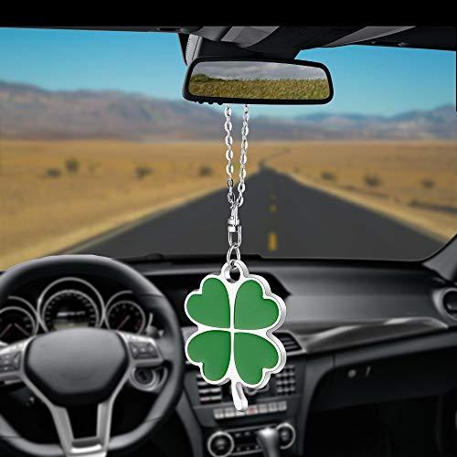 Green Four Leaf Clover Car Charm Rear View Mirror Accessories,Car Mirror Hanging Ornaments Decoration,Key Charm Good Luck Leaf ()