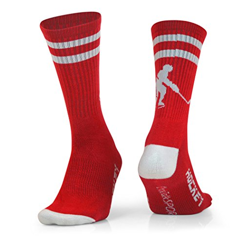 ChalkTalkSPORTS Hockey Half Cushioned Crew Socks | Hockey Player | Red/White
