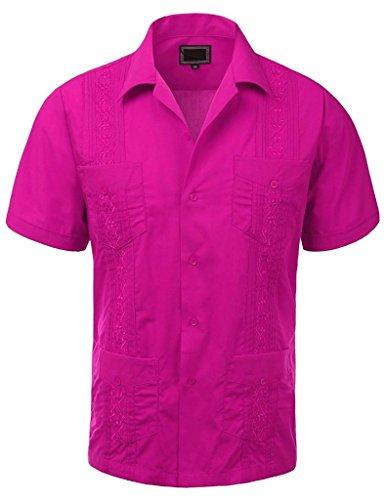 Guayabera Mens Haband Cuban Wedding Short Sleeve Button-up Shirt Fuschia-2xl