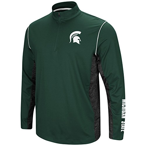 Colosseum Men's NCAA-Coffee Break-1/4 Zip Pullover Windshirt-Michigan State Spartans-Green-XL (Zip Pullover Windshirts)