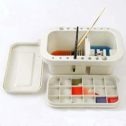 Looneng Multifunction Brush Basin Paint Brush Tub with Brush Holder and Palette