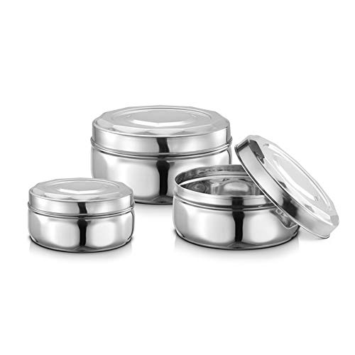 JENSONS Stainless Steel 3pcs Diamond Storage with Steel lids Set