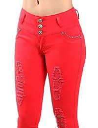 Women Fashion 3 Button Design Slim Fit Stretch Skinny Denim Jean Pant Collection
