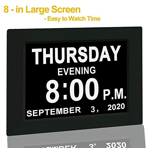 """【Upgraded】 Digital Calendar Alarm Day Clock - with 8"""" Large Screen Display, am pm, 5 Alarm, for Extra Large Impaired Vision People, The Aged Seniors, The Dementia, for Desk, Wall Mounted, New Black"""