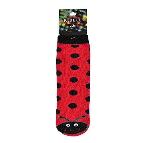 K. Bell Girl`s Tube Slipper Socks, KBGF14I009-01, 6-8.5, Red Ladybug