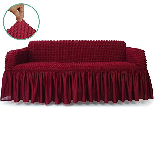 STARS 1-Piece Stretchable Easy Fit Sofa Cover Durable Furniture Slipcover in Country Style Made of Machine Washable and Quick-Drying Fabric for 3-seat sofa and couch(Sofa,Wine Red)