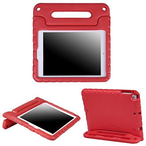 HDE Kids Case for iPad Air 1 and 2 - Shockproof Bumper Kid Friendly Cover w/Adjustable Handle Stand (Red)