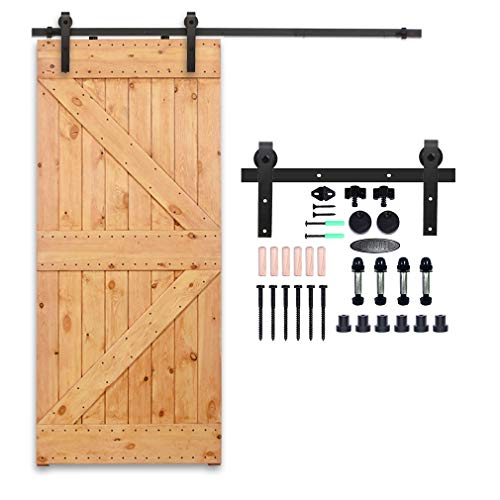 CCJH 8FT Heavy Duty Sturdy Sliding Barn Door Hardware Kit for Single Door J Shape Smoothly and Quietly