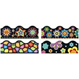 TREND Terrific Trimmers Board Trim, 2 1/4in. x 3 1/4ft, Bright On Black, Assorted Colors, Set of 48