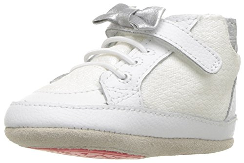 (Robeez Girls' High Top Sneaker-Mini Shoez Crib Shoe, Skipping Stella - White, 18-24 Months M US Infant)
