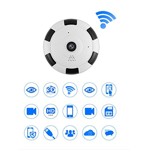 Price comparison product image 960P HD Mini 360 Degree Panoramic Wifi Wireless IP Camera Fisheye Night Vision Dreamyth (White)
