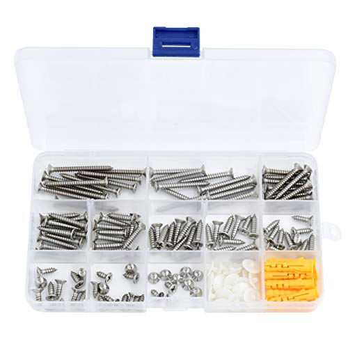 Stainless Steel Flat Head Self Tapping Screws and Ribbed Anchors Screws Cover Assortment Kit (150 PCS) from NiuXTool
