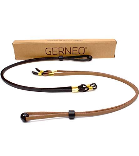 GERNEO® - ORIGINAL – hochwertiges Brillenband Leder- & Wildlederoptik - Unisex PU Brillenkordel für Sonnenbrillen & Lesebrillen – Band schwarz & hellbraun – Halterungen gold