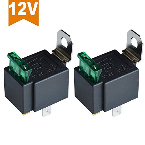 Ehdis Fused Relay On/Off 12V 30A Automotive 4-Pin Fuse Mounting Base Socket SPST Metal Normally Open Car Motor Automobile, Pack of 2 ()