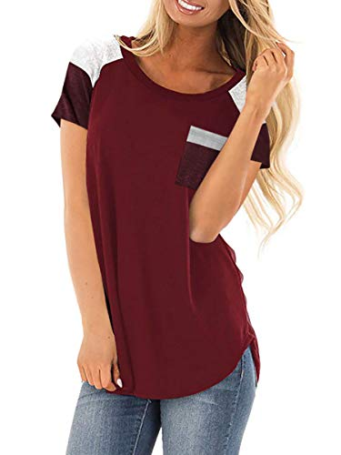 Royalove Women's Casual Tops Color Block Patchwork Short Sleeve Tunic T Shirt Tee with Pocket Wine Small