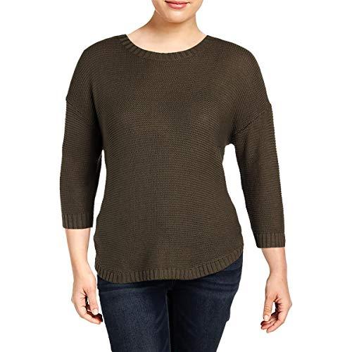 LAUREN RALPH LAUREN Womens Plus Textured 3/4 Sleeves Pullover Sweater Green -