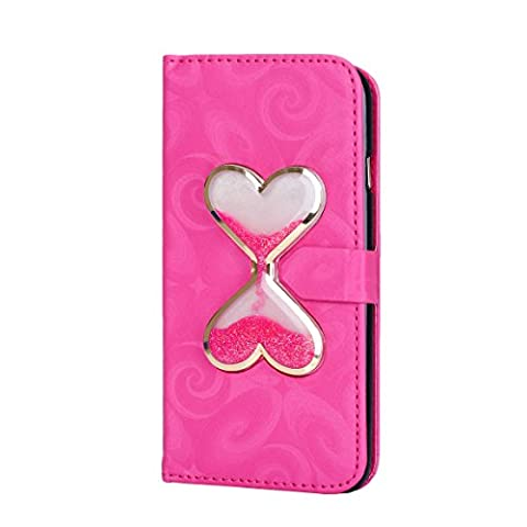 iPhone SE Case,iPhone SE 5S Wallet Case, PHEZEN Bling Liquid Glitter Love Heart Floating 3D Hourglasses Luxury Pu Leather Magnet Flip Case Cover with Credit Card Slots for iPhone SE 5 5S, (Flip Cover Iphone 5 Bling)