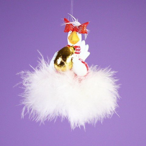 Patience Brewster 12 Days - Day 6 Mini Goose A Laying Christmas Figural Ornament 08-30641 - Krinkles Christmas Reindeer