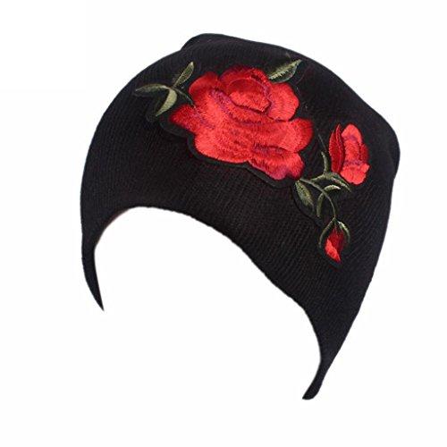 - SUKEQ Womens Soft Embroidery Wool Knit Chemo Beanie Hat Turban Headwear Caps (Black)