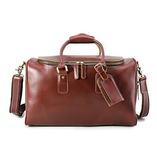 Huntvp Mens Leather Travel Duffel Bag Weekend Carry On Luggage Shoulder Bags by Huntvp